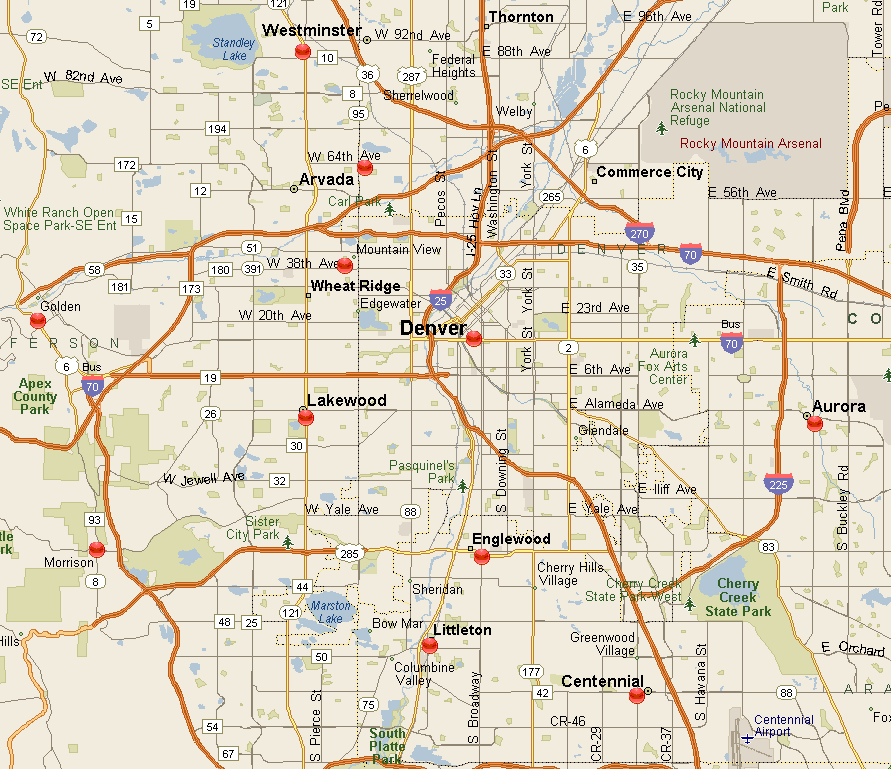 Map Of Denver Metro Area Denver Metro Area Map 1